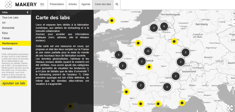 Tiers Lieu. Où sont situé les Labs en France ? makery vous le dit !