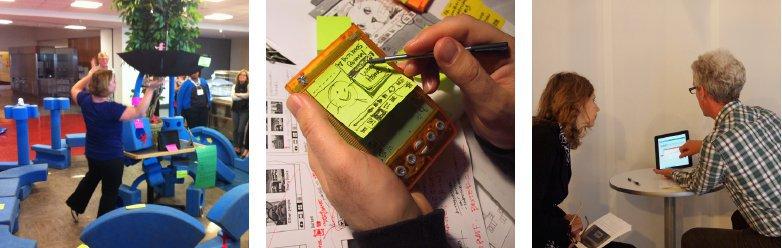 Trois exemples de prototypes très simples : des blocs de mousse pour repenser un espace, la maquette en post-it d'une interface sur smartphone, un jeu de rôle (source: Design thinking in a day, IDEO, 2014)