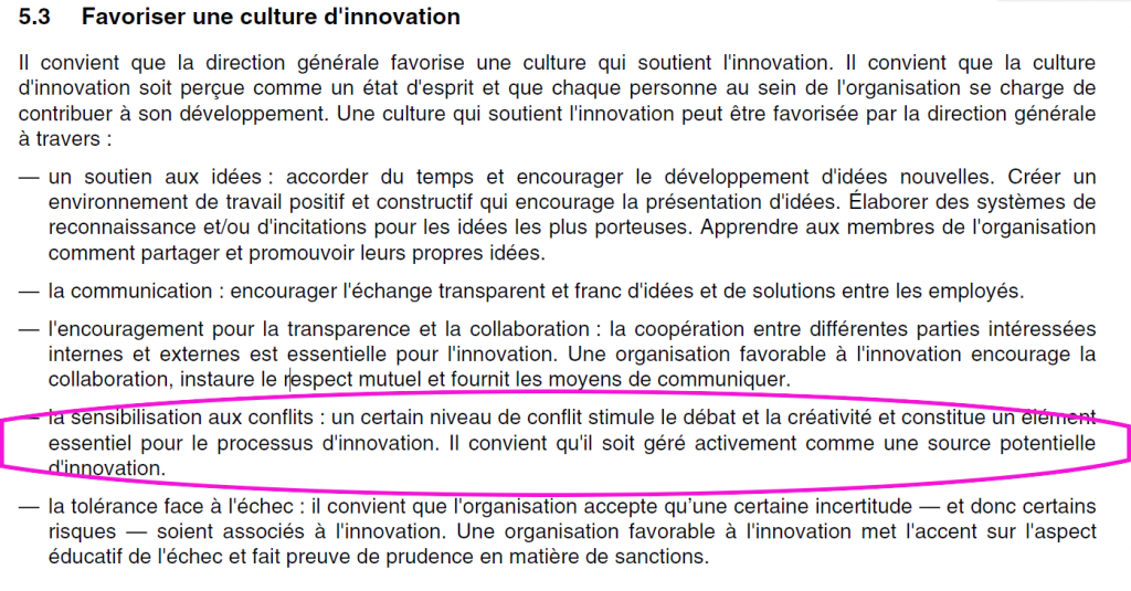 Extrait de la norme XP CEN/TS 16555-1 de l'AFNOR - management de l'innovation - paradoxes